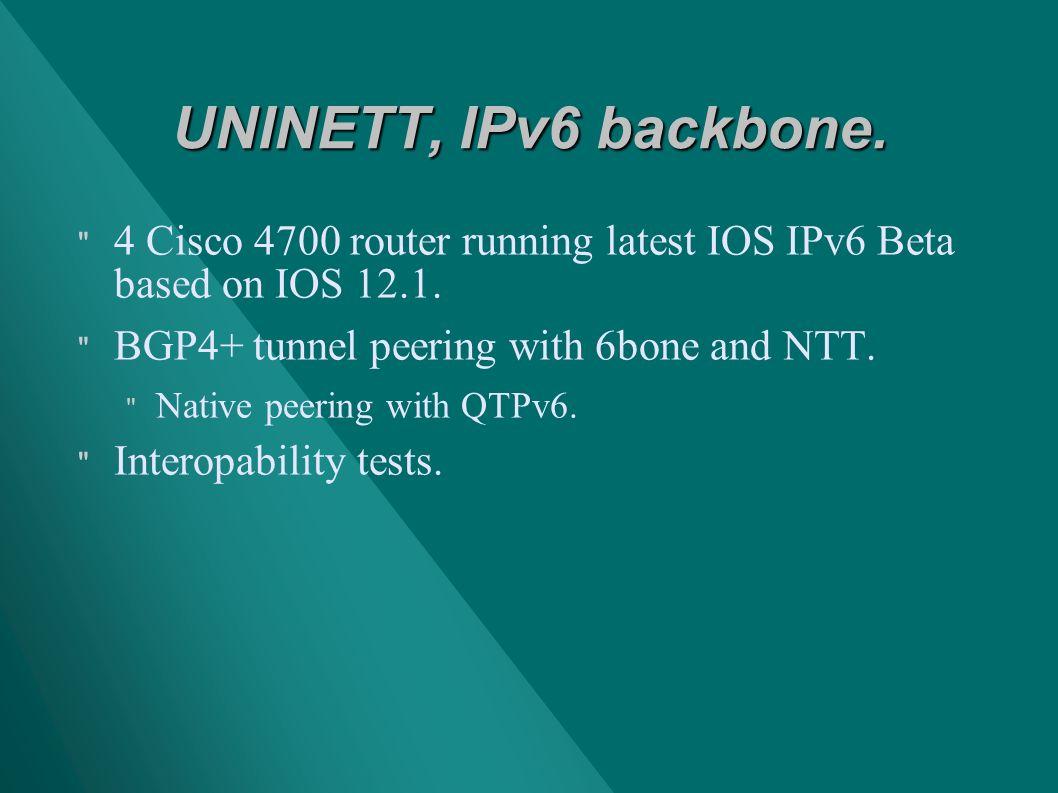 UNINETT, IPv6 backbone. 4 Cisco 4700 router running latest IOS IPv6 Beta based on IOS 12.1.