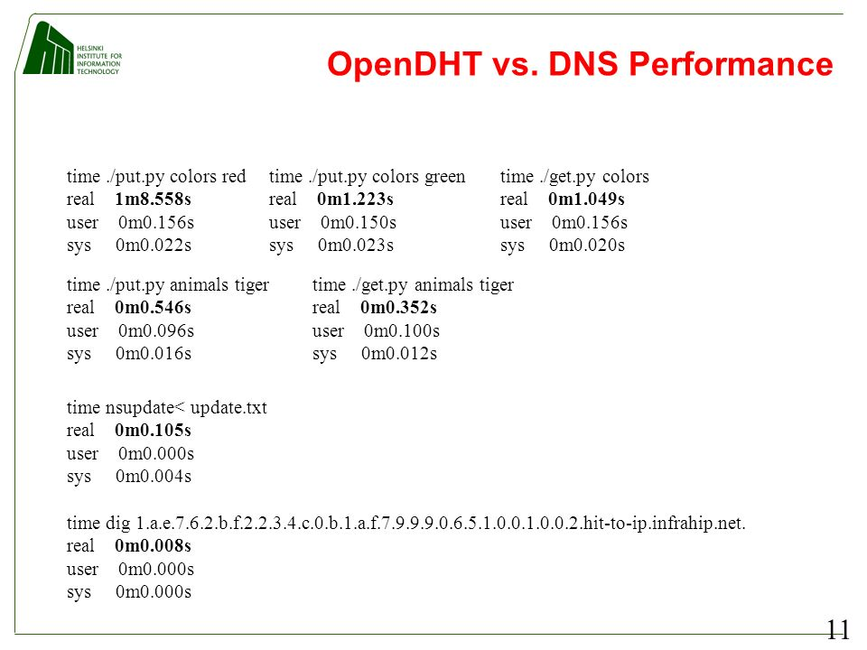 11 OpenDHT vs. DNS Performance time nsupdate< update.txt real 0m0.105s user 0m0.000s sys 0m0.004s time dig 1.a.e.7.6.2.b.f.2.2.3.4.c.0.b.1.a.f.7.9.9.9