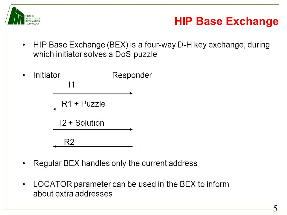 5 HIP Base Exchange HIP Base Exchange (BEX) is a four-way D-H key exchange, during which initiator solves a DoS-puzzle Initiator Responder I1 R1 + Puz