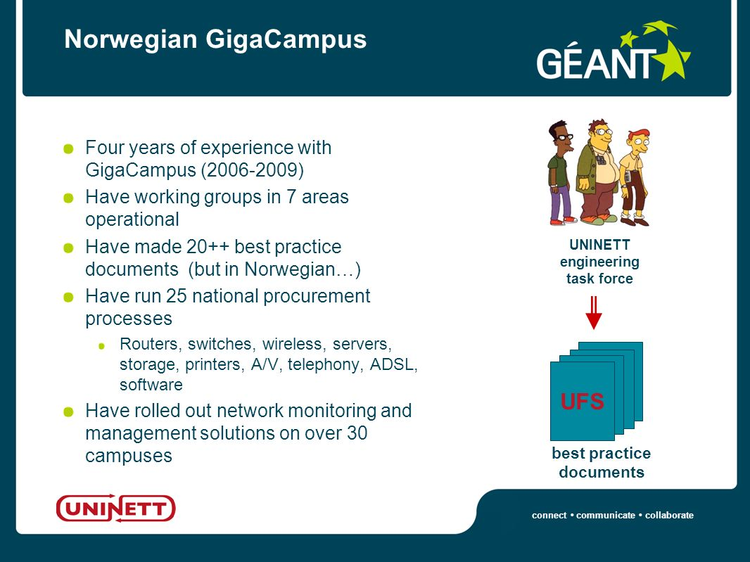 connect communicate collaborate Norwegian GigaCampus Four years of experience with GigaCampus (2006-2009) Have working groups in 7 areas operational Have made 20++ best practice documents (but in Norwegian…) Have run 25 national procurement processes Routers, switches, wireless, servers, storage, printers, A/V, telephony, ADSL, software Have rolled out network monitoring and management solutions on over 30 campuses UNINETT engineering task force UFS best practice documents