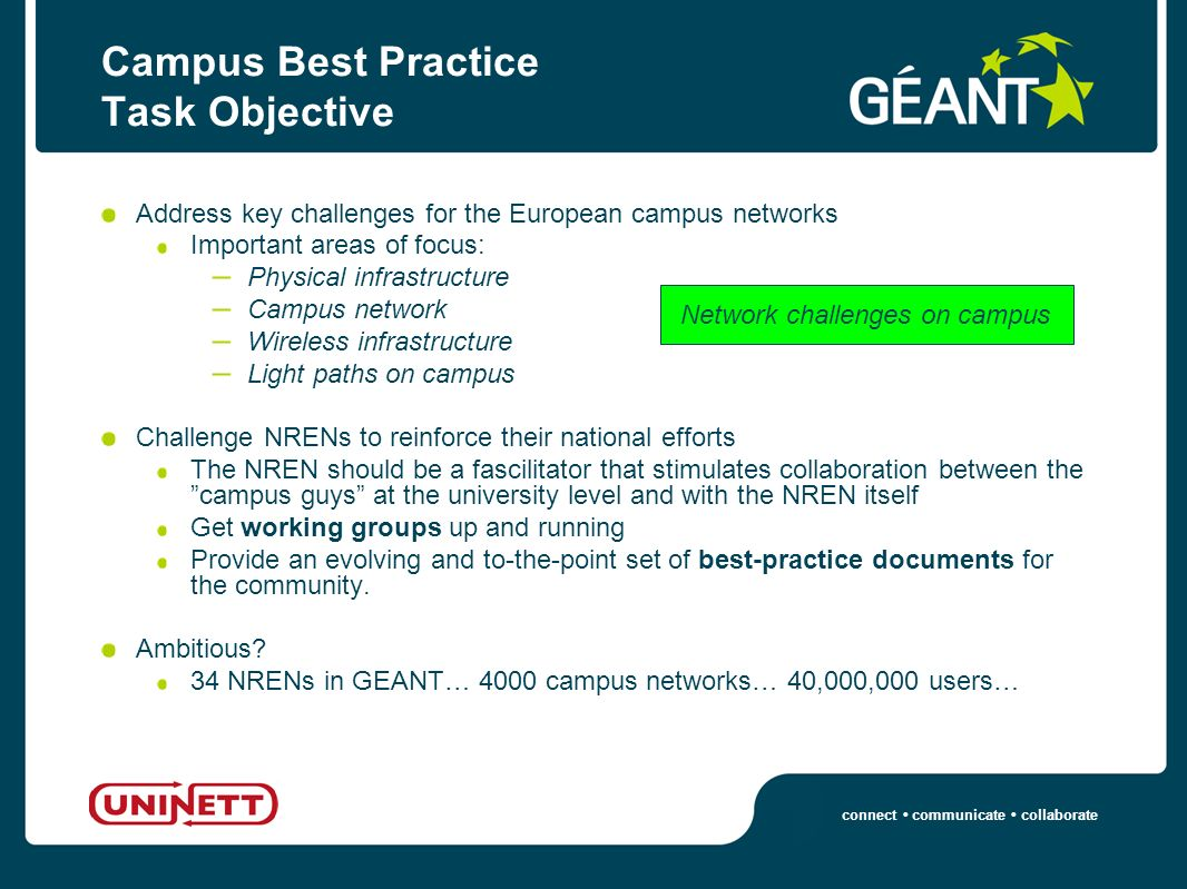 connect communicate collaborate Campus Best Practice Task Objective Address key challenges for the European campus networks Important areas of focus: – Physical infrastructure – Campus network – Wireless infrastructure – Light paths on campus Challenge NRENs to reinforce their national efforts The NREN should be a fascilitator that stimulates collaboration between the campus guys at the university level and with the NREN itself Get working groups up and running Provide an evolving and to-the-point set of best-practice documents for the community.