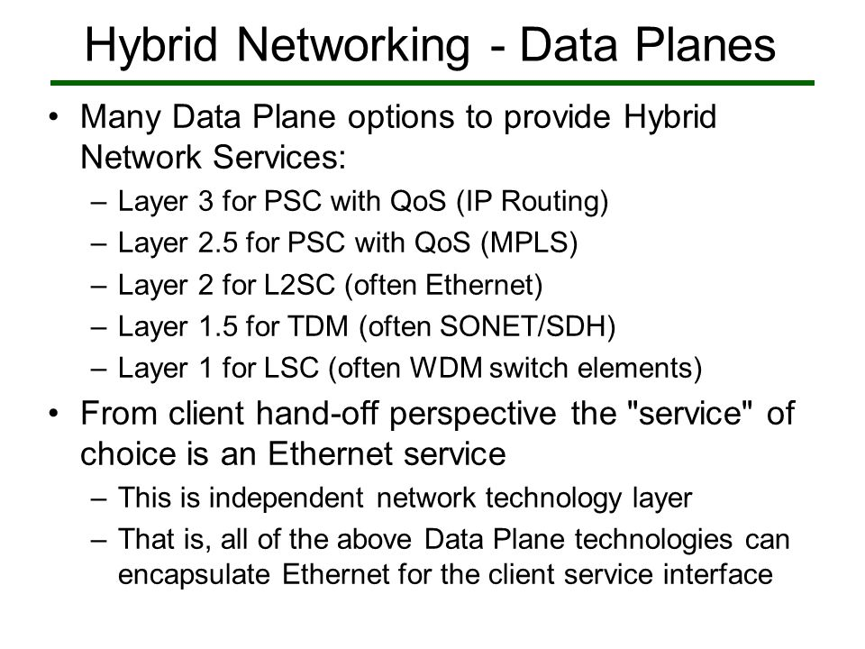 Hybrid Networking - Data Planes Many Data Plane options to provide Hybrid Network Services: –Layer 3 for PSC with QoS (IP Routing) –Layer 2.5 for PSC with QoS (MPLS) –Layer 2 for L2SC (often Ethernet) –Layer 1.5 for TDM (often SONET/SDH) –Layer 1 for LSC (often WDM switch elements) From client hand-off perspective the service of choice is an Ethernet service –This is independent network technology layer –That is, all of the above Data Plane technologies can encapsulate Ethernet for the client service interface