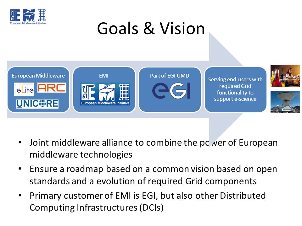 Goals & Vision Joint middleware alliance to combine the power of European middleware technologies Ensure a roadmap based on a common vision based on o