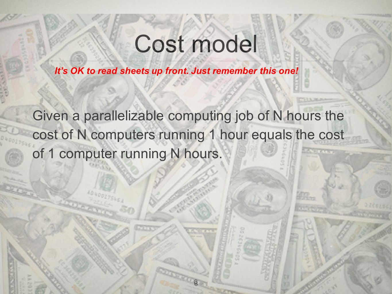 9 Cost Example 2 servers, 2 months, 50GB test data during development 8 servers, 2 months, 1TB data running time Monthly costTotal Development$162$324 Running time$786$1572 Total cost$1896
