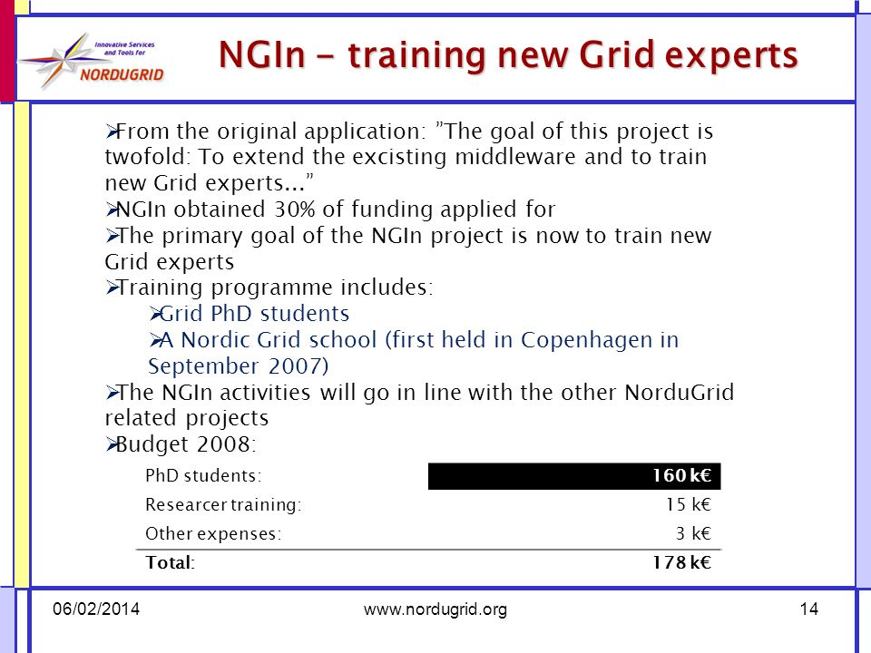 NGIn - training new Grid experts 06/02/2014www.nordugrid.org14 From the original application: The goal of this project is twofold: To extend the excisting middleware and to train new Grid experts...
