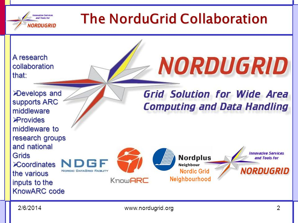 2/6/2014www.nordugrid.org2 The NorduGrid Collaboration Nordic Grid Neighbourhood A research collaboration that: Develops and supports ARC middleware Develops and supports ARC middleware Provides middleware to research groups and national Grids Provides middleware to research groups and national Grids Coordinates the various inputs to the KnowARC code Coordinates the various inputs to the KnowARC code