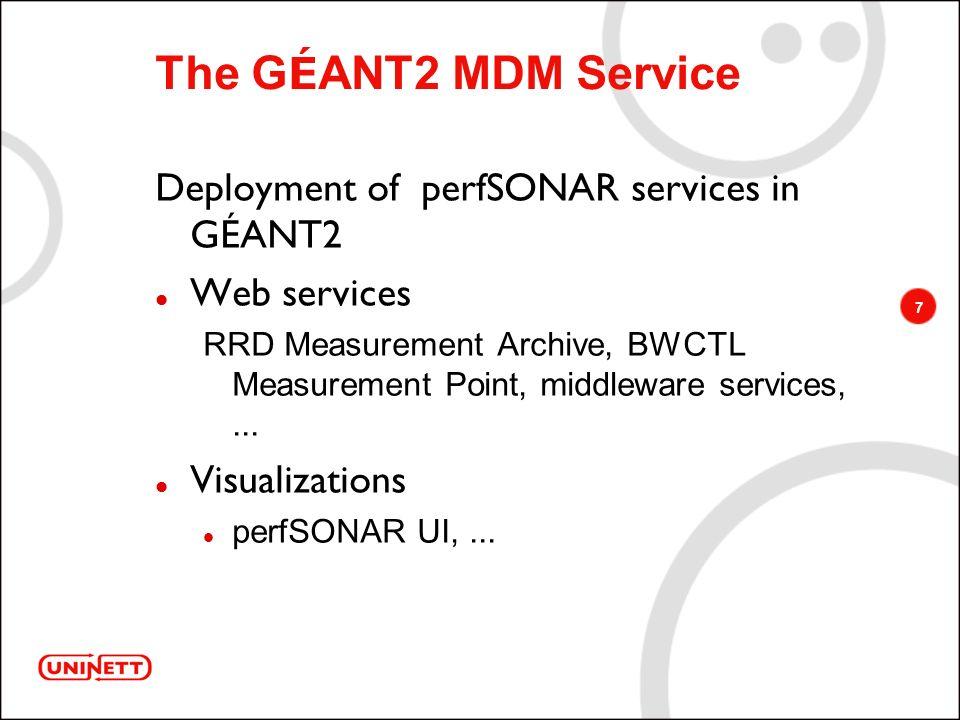 7 The G É ANT2 MDM Service Deployment of perfSONAR services in GÉANT2 Web services RRD Measurement Archive, BWCTL Measurement Point, middleware services,...
