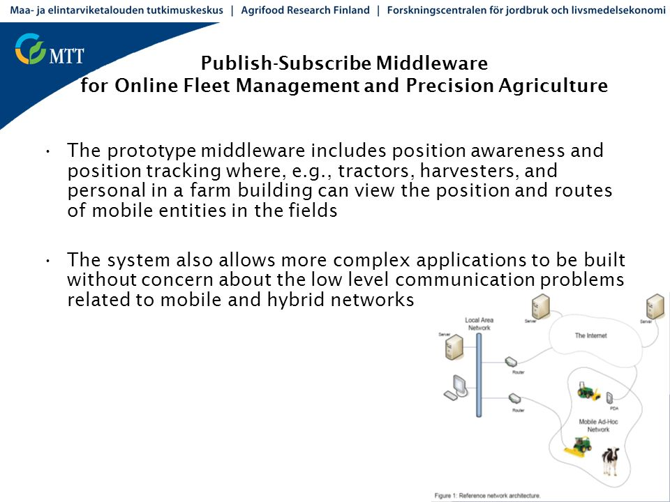 Publish-Subscribe Middleware for Online Fleet Management and Precision Agriculture The prototype middleware includes position awareness and position t
