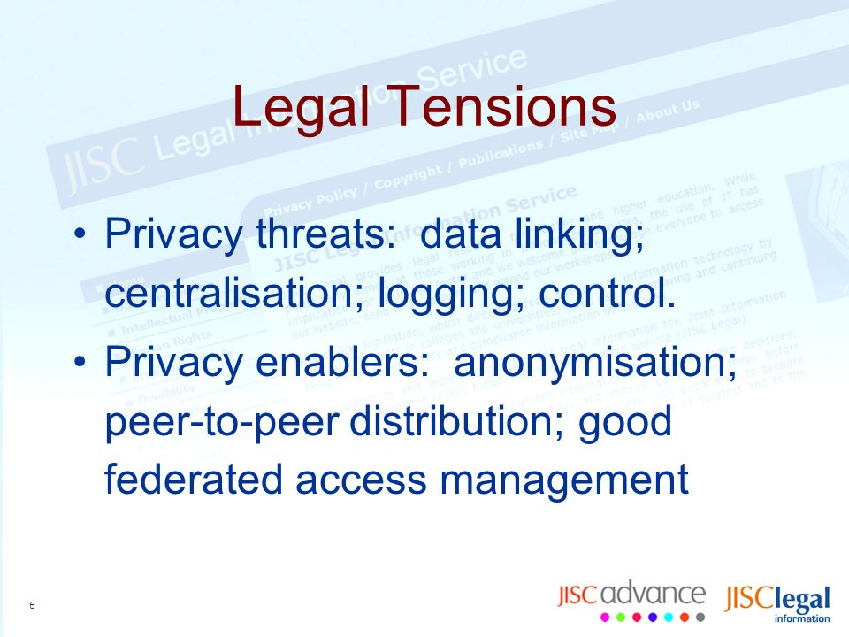 6 Legal Tensions Privacy threats: data linking; centralisation; logging; control.