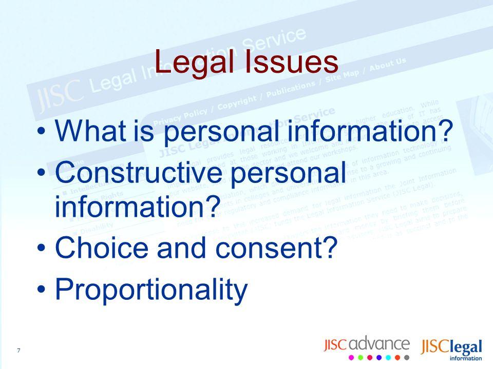 8 Resources JISC Legal Theme: Identity Management Legal Area: Data Protection