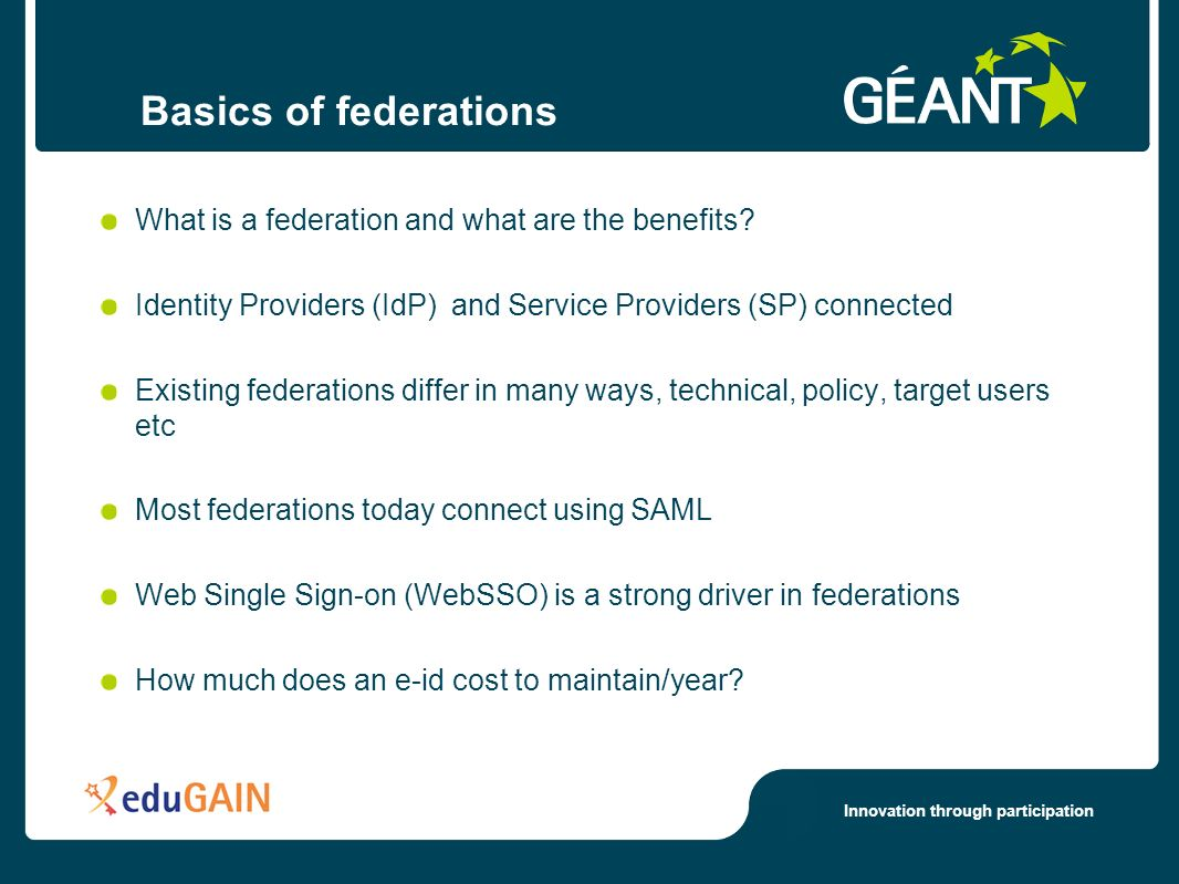 Innovation through participation Basics of federations What is a federation and what are the benefits.