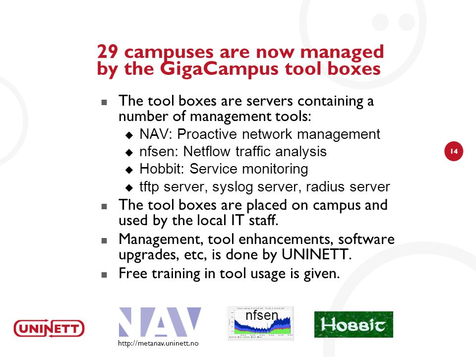 14 29 campuses are now managed by the GigaCampus tool boxes The tool boxes are servers containing a number of management tools: NAV: Proactive network