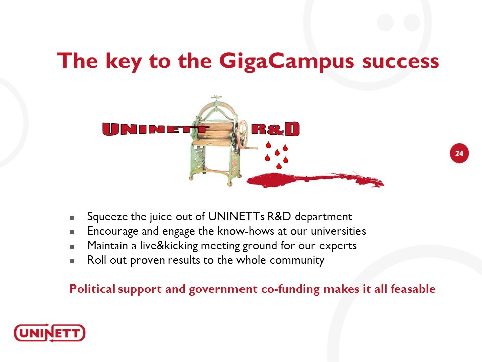 24 The key to the GigaCampus success Squeeze the juice out of UNINETTs R&D department Encourage and engage the know-hows at our universities Maintain a live&kicking meeting ground for our experts Roll out proven results to the whole community Political support and government co-funding makes it all feasable