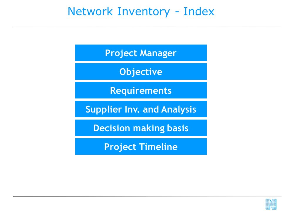 Network Inventory - Index Requirements Project Manager Objective Supplier Inv. and Analysis Project Timeline Decision making basis