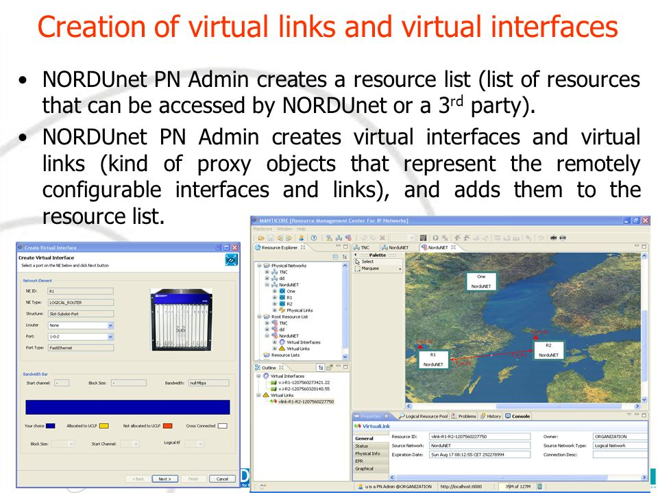 Creation of virtual links and virtual interfaces NORDUnet PN Admin creates a resource list (list of resources that can be accessed by NORDUnet or a 3 rd party).