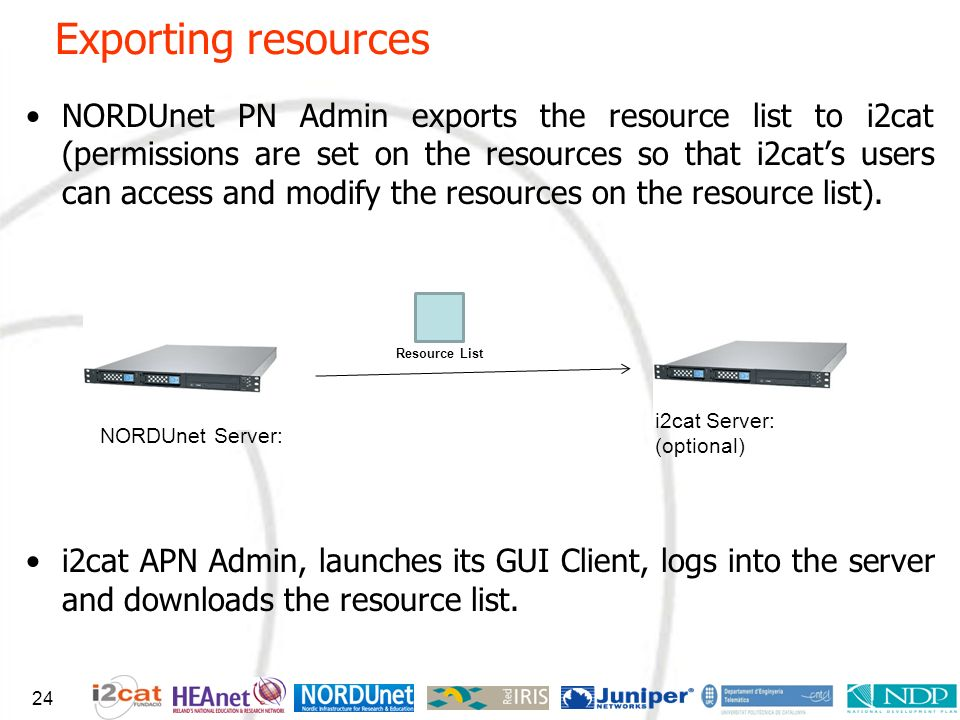 Exporting resources NORDUnet PN Admin exports the resource list to i2cat (permissions are set on the resources so that i2cats users can access and mod