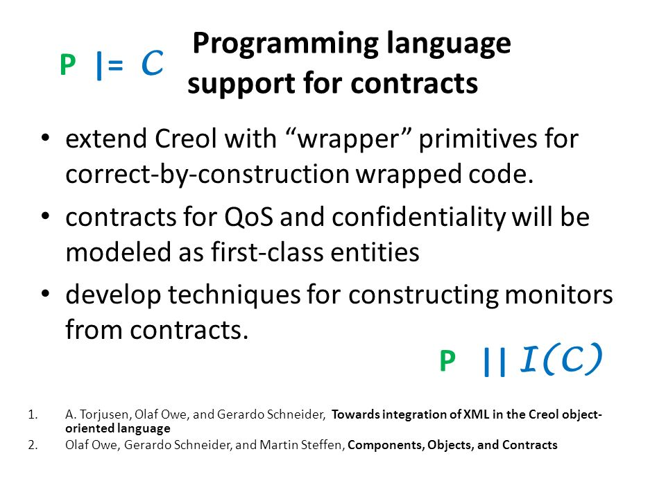 Programming language support for contracts extend Creol with wrapper primitives for correct-by-construction wrapped code.