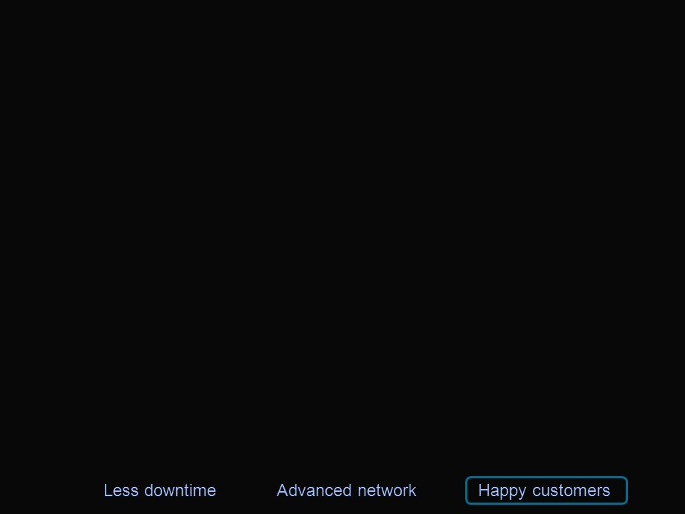 Less downtimeAdvanced networkHappy customers
