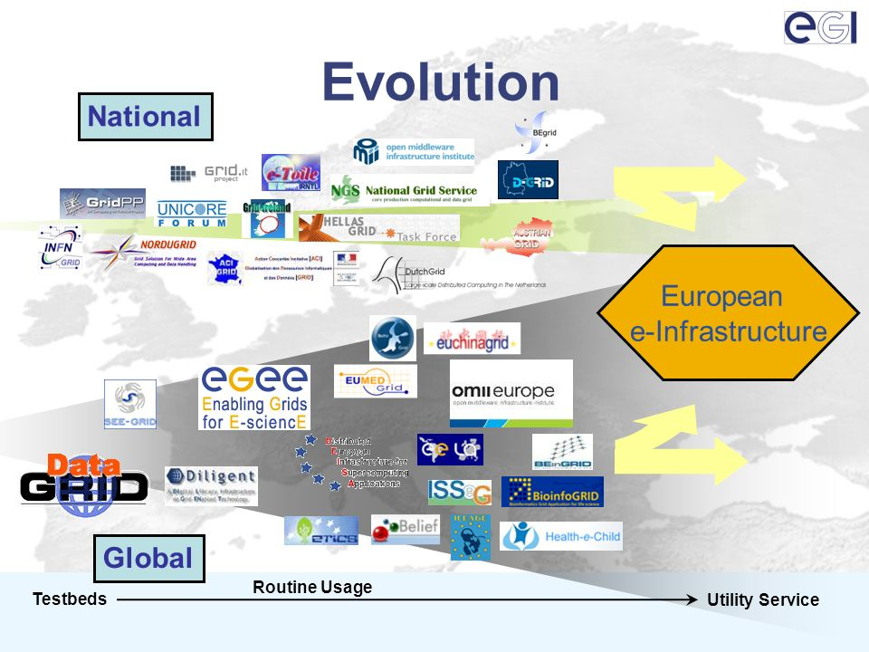 Evolution Testbeds Utility Service Routine Usage National Global European e-Infrastructure
