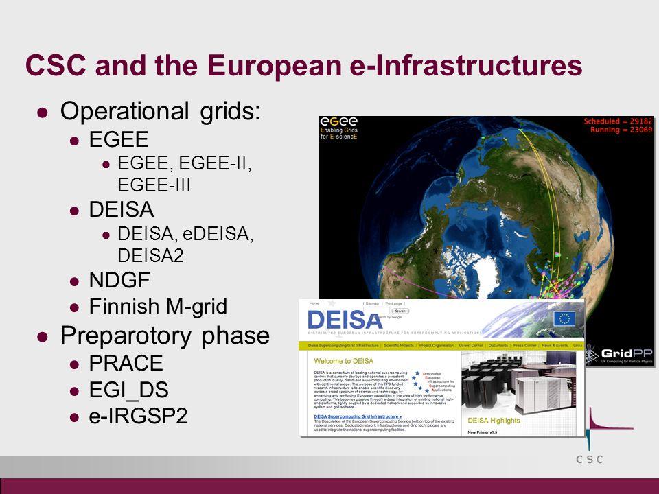 CSC and the European e-Infrastructures Operational grids: EGEE EGEE, EGEE-II, EGEE-III DEISA DEISA, eDEISA, DEISA2 NDGF Finnish M-grid Preparotory phase PRACE EGI_DS e-IRGSP2