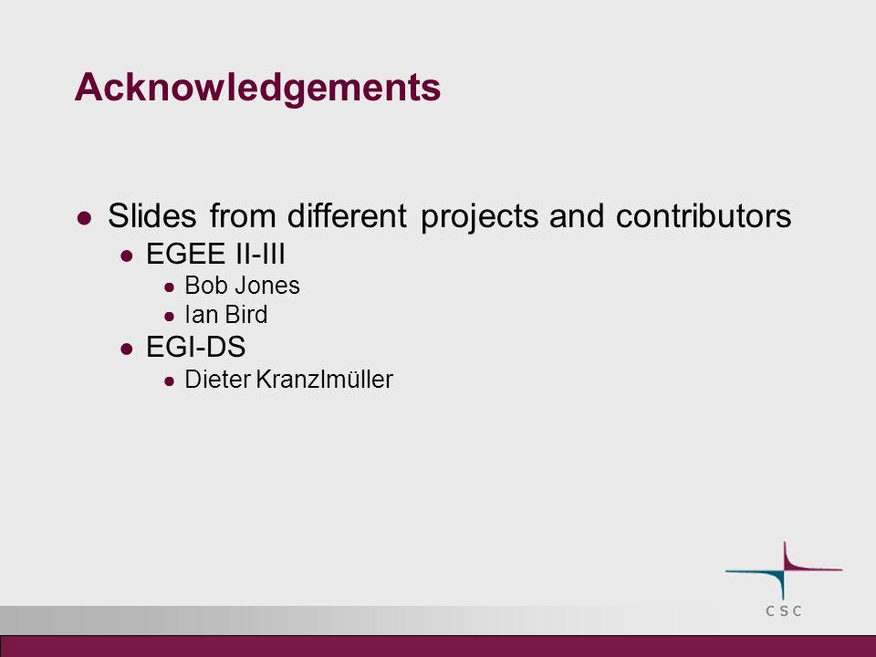 Acknowledgements Slides from different projects and contributors EGEE II-III Bob Jones Ian Bird EGI-DS Dieter Kranzlmüller