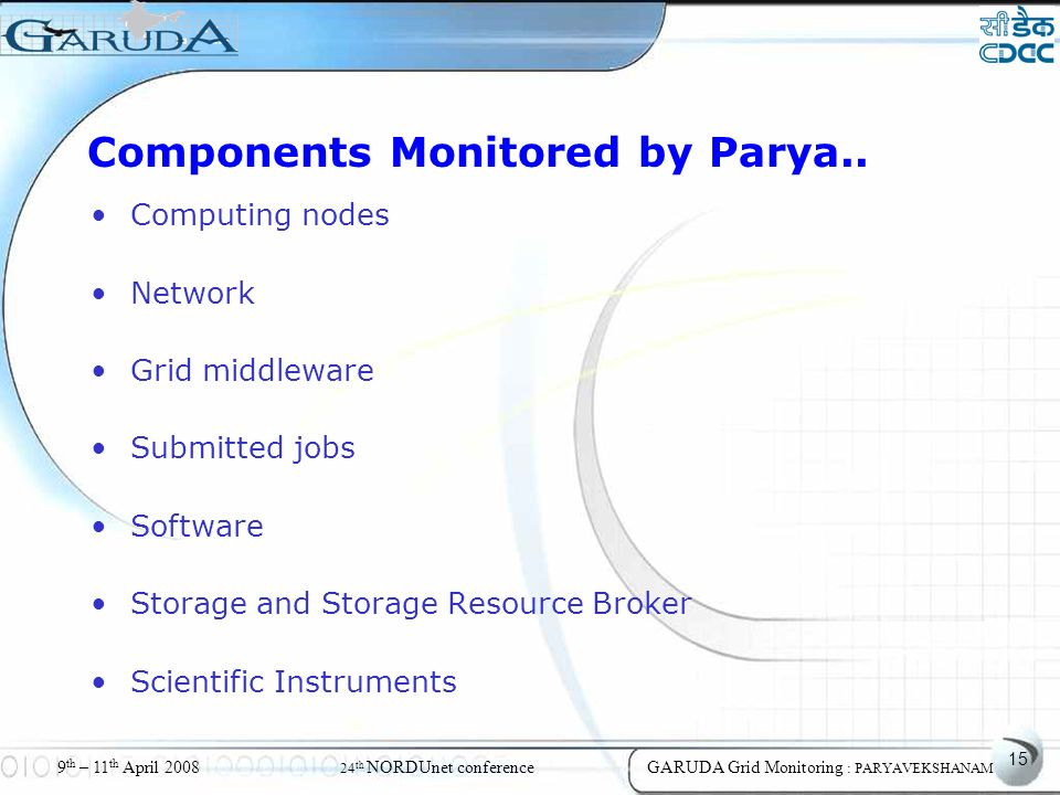 15 9 th – 11 th April 2008 24 th NORDUnet conferenceGARUDA Grid Monitoring : PARYAVEKSHANAM Components Monitored by Parya..