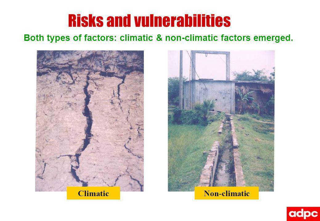 Risks and vulnerabilities Both types of factors: climatic & non-climatic factors emerged. Non-climaticClimatic