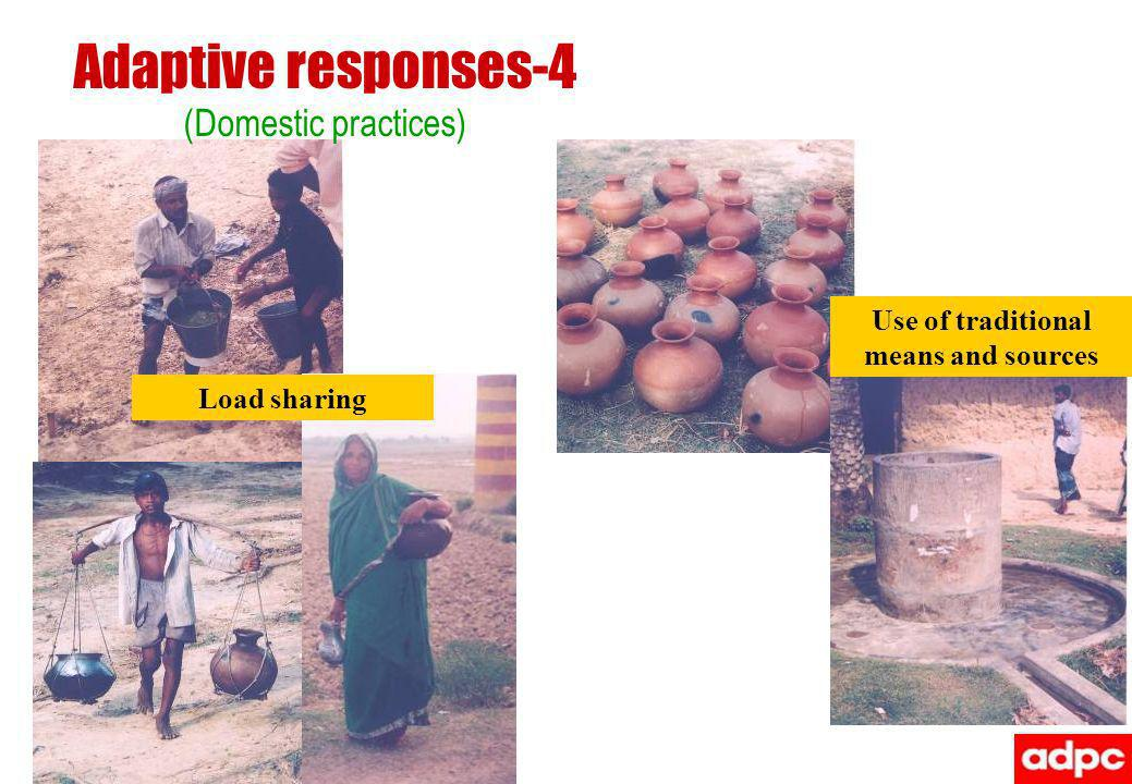 Adaptive responses-4 (Domestic practices) Load sharing Use of traditional means and sources