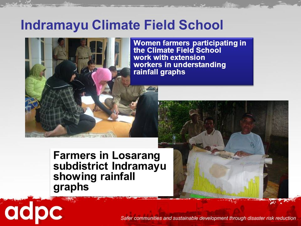 Indramayu Climate Field School Women farmers participating in the Climate Field School work with extension workers in understanding rainfall graphs Farmers in Losarang subdistrict Indramayu showing rainfall graphs Farmers in Losarang subdistrict Indramayu showing rainfall graphs