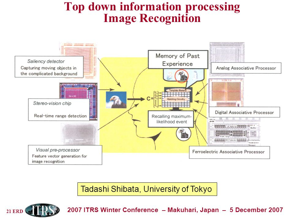 21 ERD 2007 ITRS Winter Conference – Makuhari, Japan – 5 December 2007 Top down information processing Image Recognition Tadashi Shibata, University of Tokyo