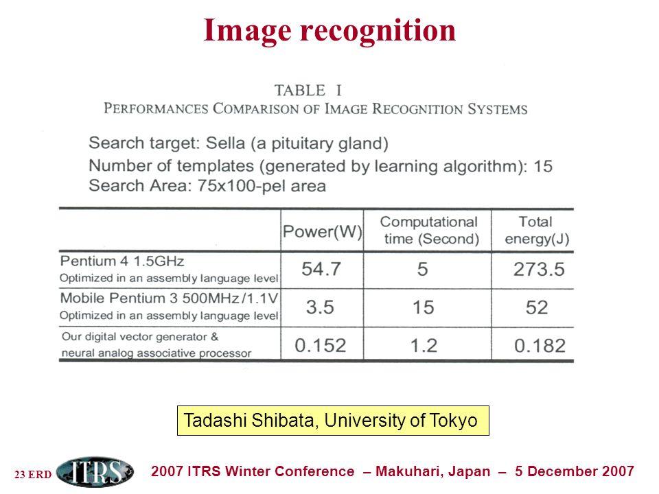 23 ERD 2007 ITRS Winter Conference – Makuhari, Japan – 5 December 2007 Image recognition Tadashi Shibata, University of Tokyo