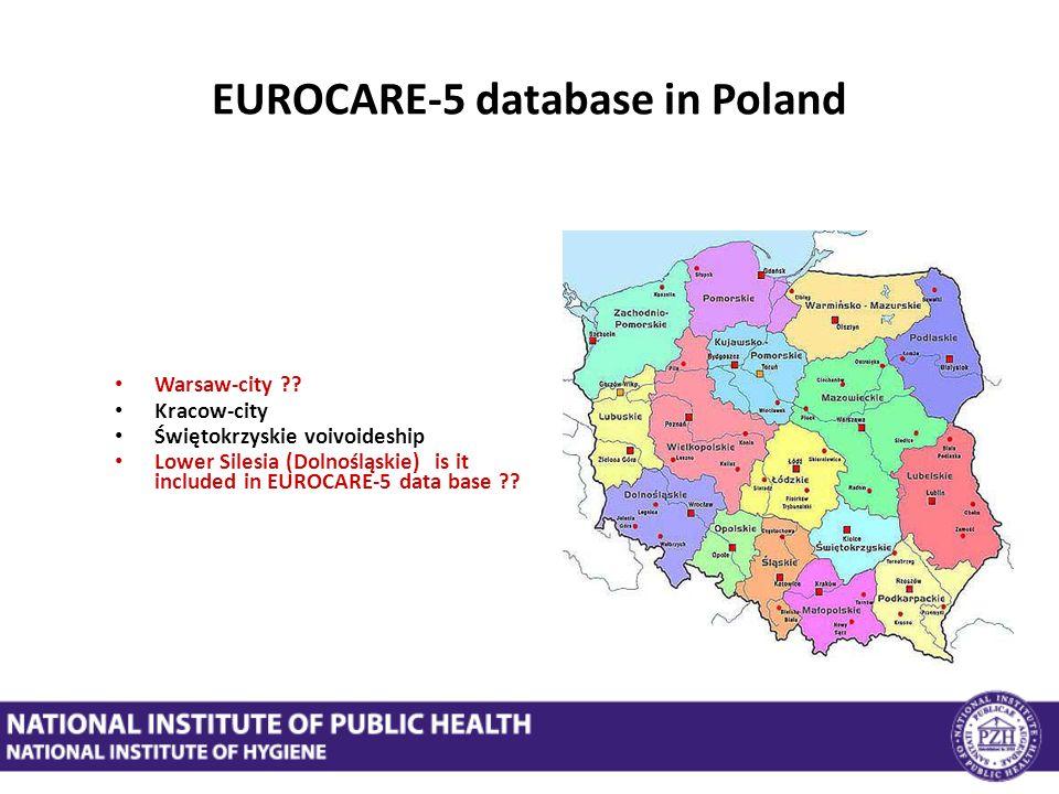 EUROCARE-5 database in Poland Warsaw-city ?? Kracow-city Świętokrzyskie voivoideship Lower Silesia (Dolnośląskie) is it included in EUROCARE-5 data ba