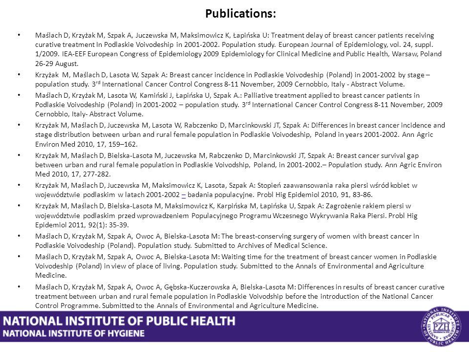 Publications: Maślach D, Krzyżak M, Szpak A, Juczewska M, Maksimowicz K, Łapińska U: Treatment delay of breast cancer patients receiving curative treatment In Podlaskie Voivodeship in 2001-2002.