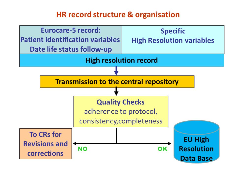Eurocare-5 record: Patient identification variables Date life status follow-up Specific High Resolution variables High resolution record HR record structure & organisation Quality Checks adherence to protocol, consistency,completeness EU High Resolution Data Base Transmission to the central repository To CRs for Revisions and corrections NOOK