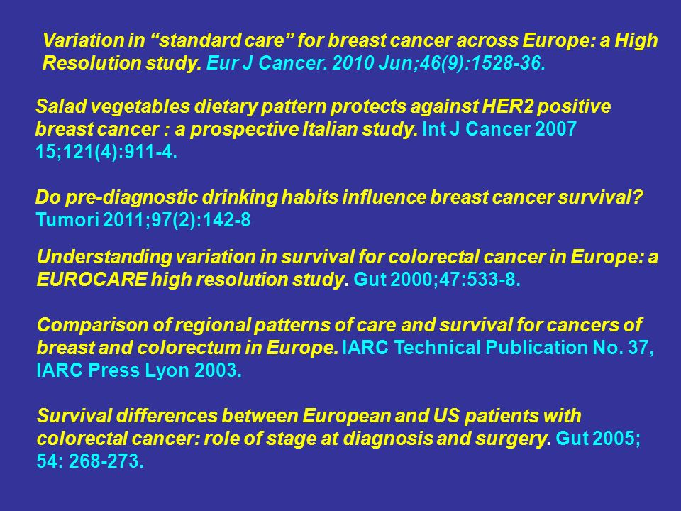 Variation in standard care for breast cancer across Europe: a High Resolution study.