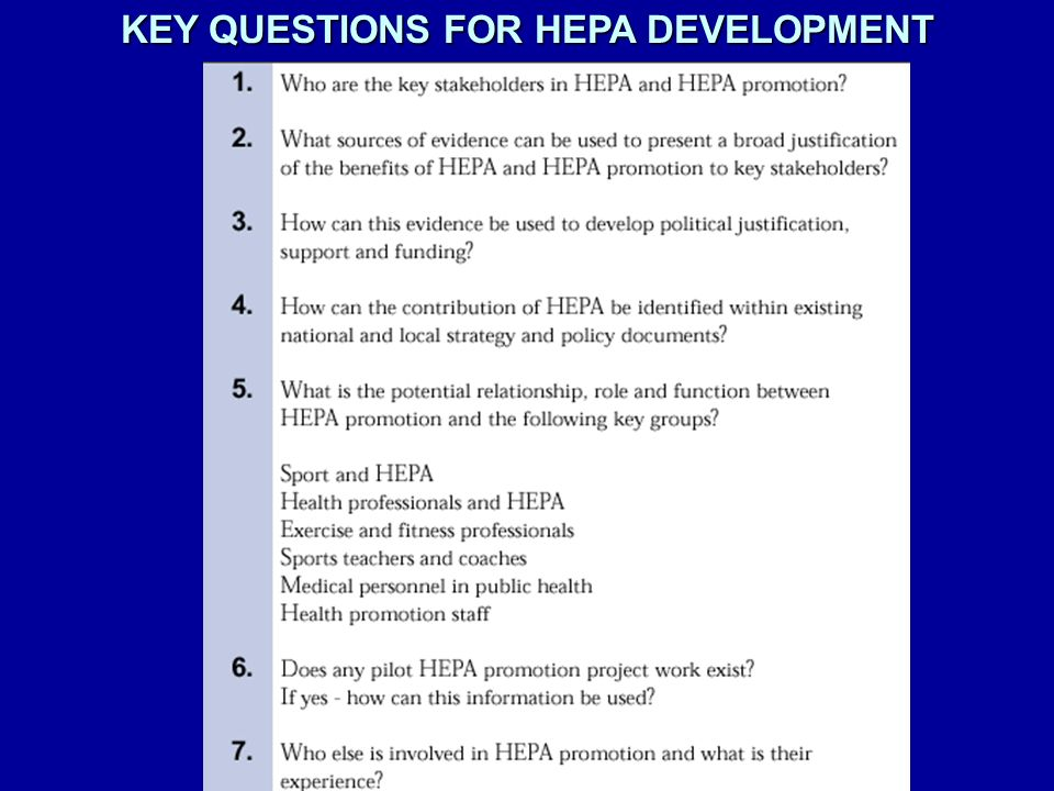 KEY QUESTIONS FOR HEPA DEVELOPMENT
