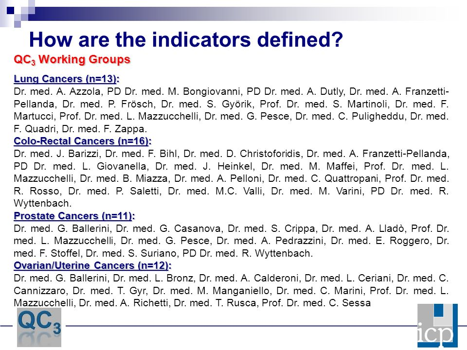 How are the indicators defined? QC 3 Working Groups Lung Cancers (n=13): Dr. med. A. Azzola, PD Dr. med. M. Bongiovanni, PD Dr. med. A. Dutly, Dr. med