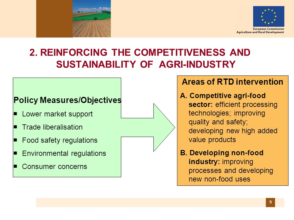 9 2. REINFORCING THE COMPETITIVENESS AND SUSTAINABILITY OF AGRI-INDUSTRY Areas of RTD intervention A. Competitive agri-food sector: efficient processi