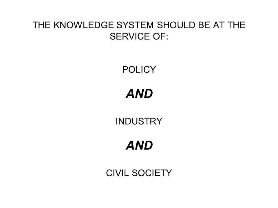 THE KNOWLEDGE SYSTEM SHOULD BE AT THE SERVICE OF: POLICY AND INDUSTRY AND CIVIL SOCIETY