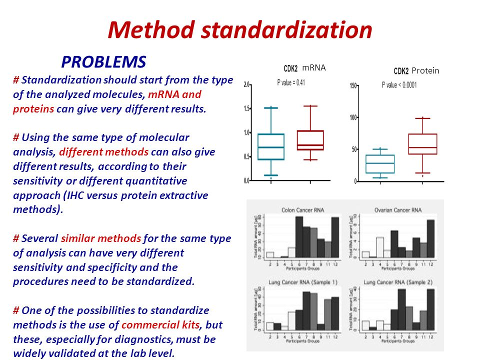 PROBLEMS # Standardization should start from the type of the analyzed molecules, mRNA and proteins can give very different results.