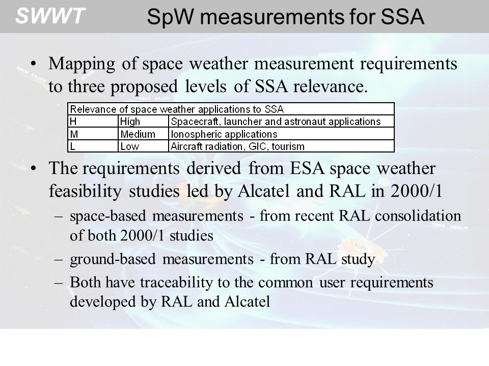 SWWT Ground-based measurements What Euro resources can contribute?