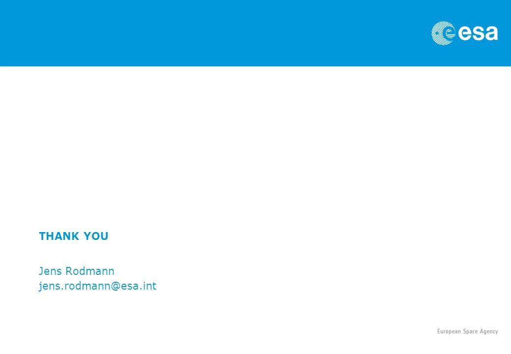 THANK YOU Jens Rodmann jens.rodmann@esa.int