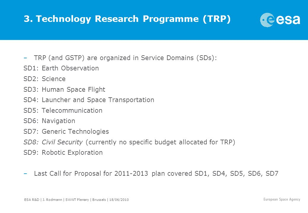 3. Technology Research Programme (TRP) –TRP (and GSTP) are organized in Service Domains (SDs): SD1: Earth Observation SD2: Science SD3: Human Space Fl