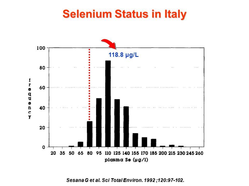 Selenium Status in Italy Sesana G et al. Sci Total Environ. 1992 ;120:97-102. 118.8 μg/L