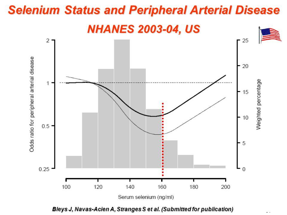 Mateo GF et al. Am J Clin Nutr 2006; 84:762-773 Selenium Status and Peripheral Arterial Disease NHANES 2003-04, US Bleys J, Navas-Acien A, Stranges S