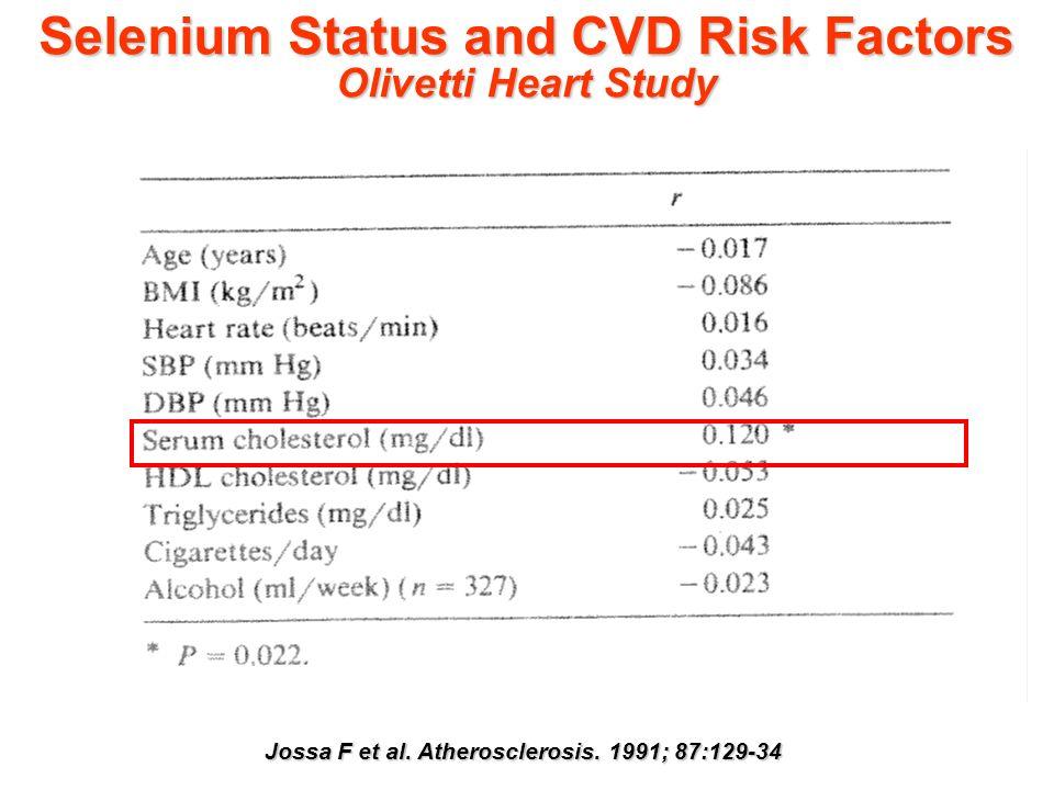 Selenium Status and CVD Risk Factors Olivetti Heart Study Jossa F et al. Atherosclerosis. 1991; 87:129-34