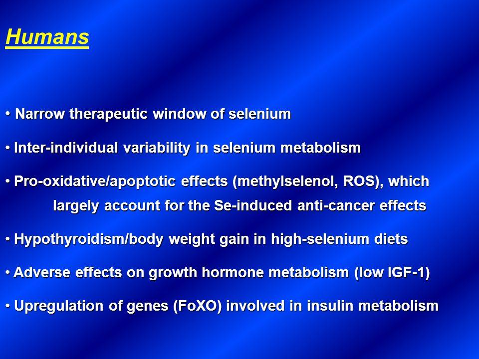 Humans Narrow therapeutic window of selenium Narrow therapeutic window of selenium Inter-individual variability in selenium metabolism Inter-individua