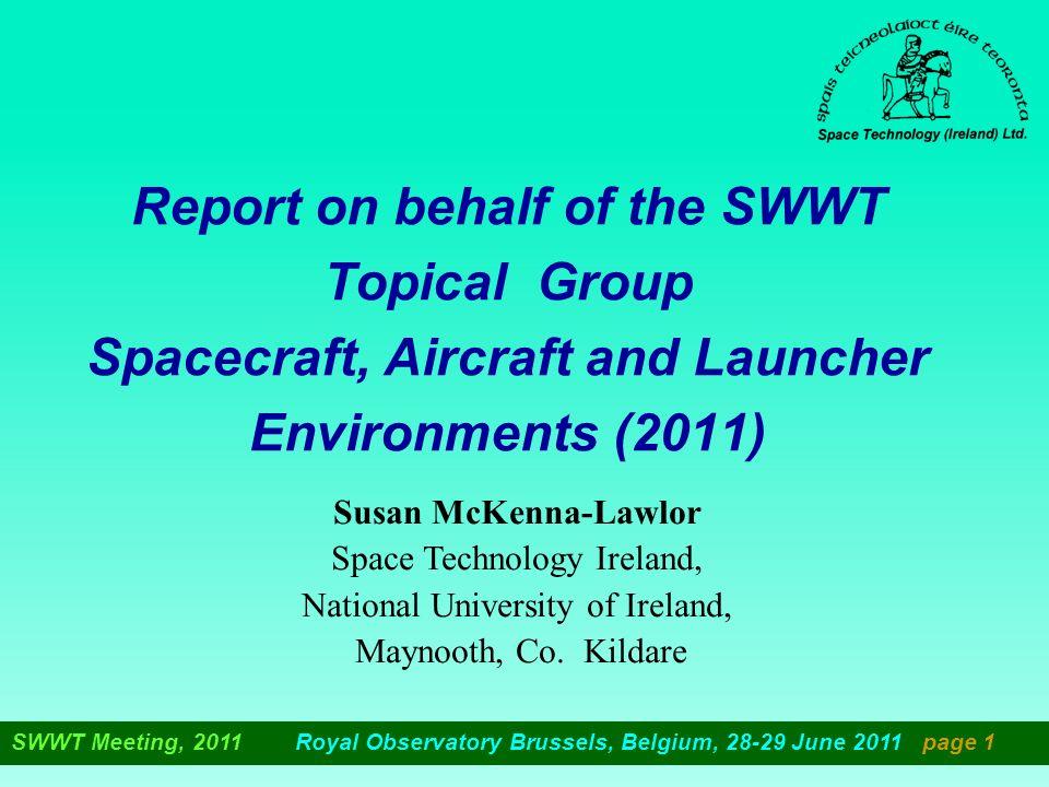 Working Group Chair/spokesperson Susan McKenna-Lawlor (STIL) E mail; stil@nuim.ie Working Group Co-Chairs Federico di Marco (VEGA) E.