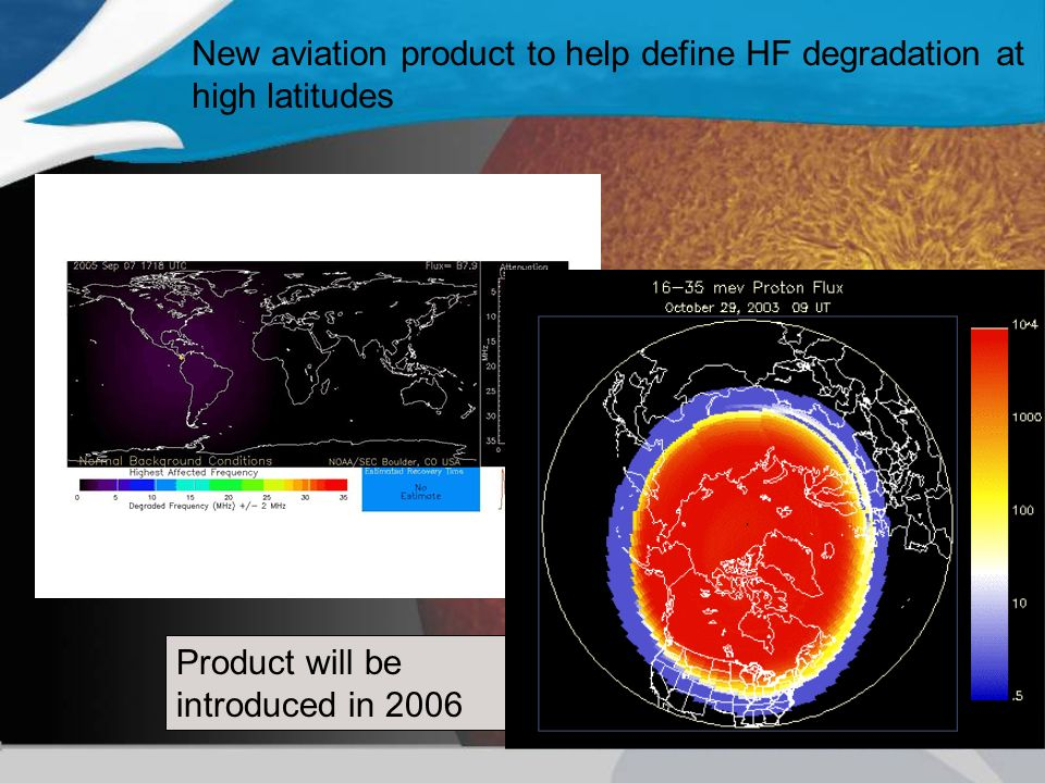 New aviation product to help define HF degradation at high latitudes Product will be introduced in 2006