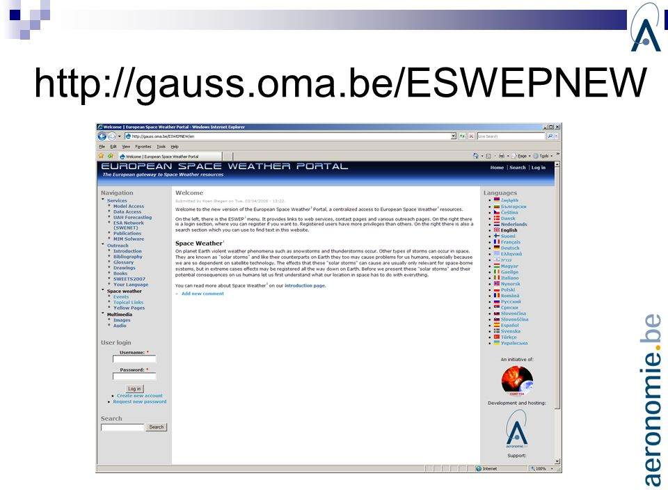 http://gauss.oma.be/ESWEPNEW